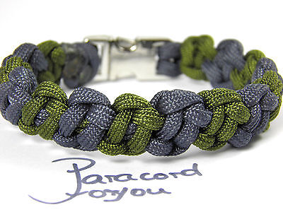 Paracord Armband-Metall Klipverschl.-Bonobo Bar-Camo Grün-Navy Blau