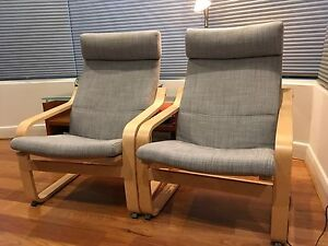 Beech wood frame armchair, grey marle covers, Poang chair Ikea Kew East Boroondara Area Preview