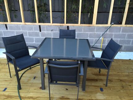 Dining table and chairs - glass top table outdoor Lilyfield Leichhardt Area Preview