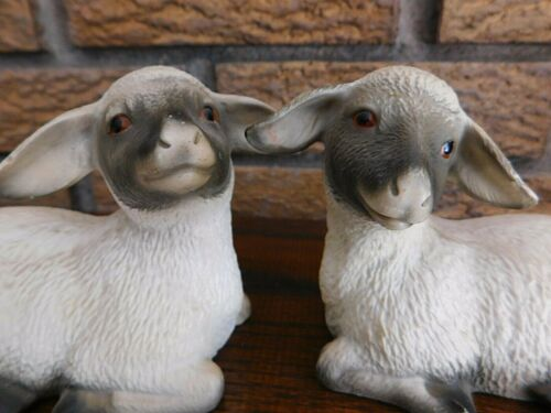 Vintage Set of 2 Figurines Sheep Farm Art Sculptures by Thomas Gray
