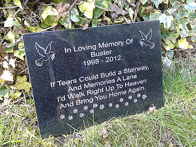 Pet Dog or Cat Memorial Personalised Plaque Grave Marker Headstone Granite