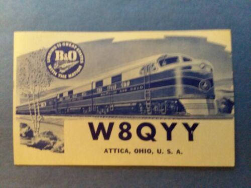 ATTICA, OHIO- B & O RAILROAD CARD- EDWIN L. STOMBAUGH- W8QYY- 1964- QSL