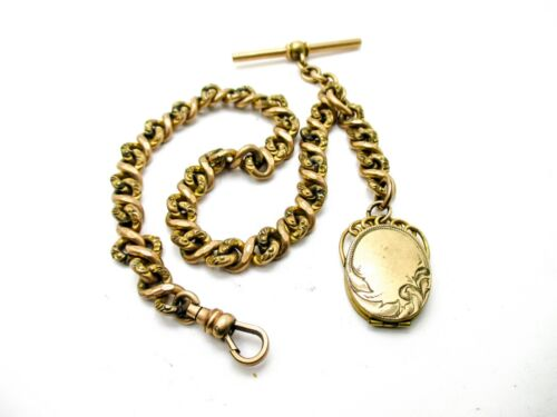 Pocket Watch Chain Heavy Vintage Golf Filled S.O.B. Repousse Link Locket Fob