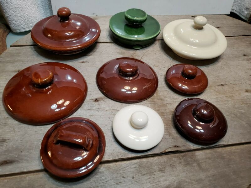 Lot of 9 Vintage Glazed Ceramic Jar Lid Replacements Mixed Pottery Lids