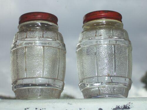 """Rare 3"""" clear Anchor Hocking Barrel shape, metal lid salt & pepper shaker set"""