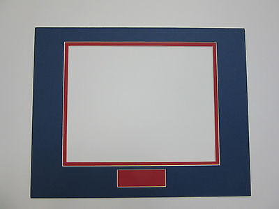 Picture Frame Double Mat 11x14 for 8x10 and signature opening blue with red