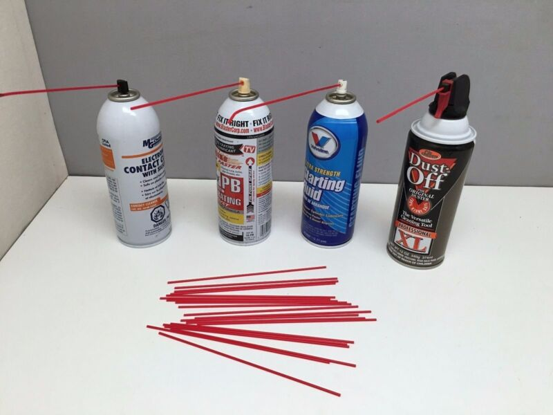 """20 - 7"""" Long little Red Spray Can Reddy Straws Tube Oil Nozzle Cleaner LPS WD40"""