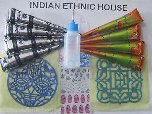 Henna cones Tattoo kit 4 Black + 4 Brown + Applicator Stencil nail art Stickers