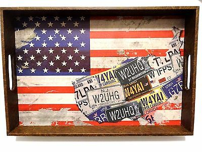 American Flag State License Plates Serving Tray Distressed Wood Red White -