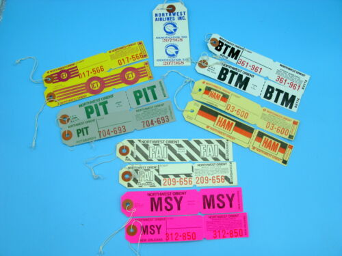 Vintage NORTHWEST AIRLINES paper Baggage tags