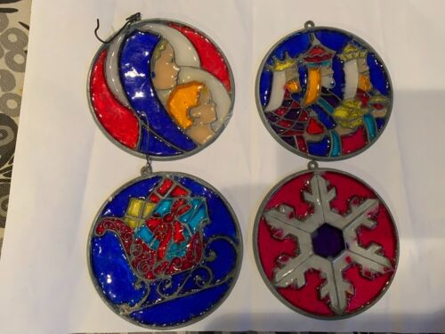 Makit & Bakit Stained Glass Christmas Ornaments Vintage Home Made