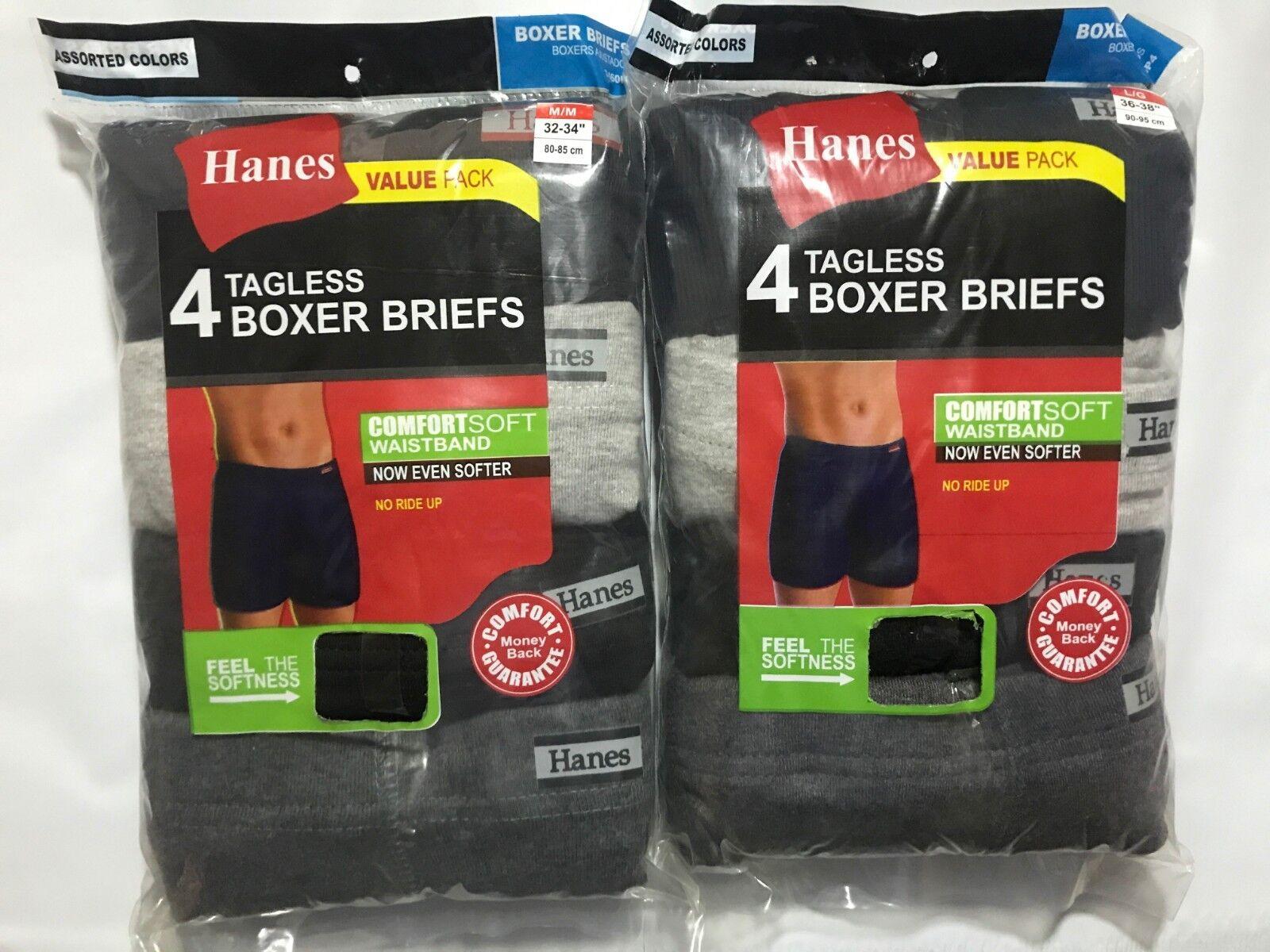 Hanes Men's Tagless Boxer Briefs 8 PACK SIZE S M L XL Black