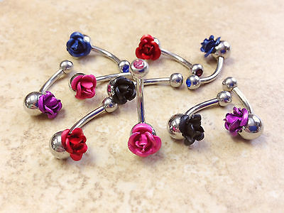 B#182- 9pcs Single Rose Gem Belly Rings Navel Naval