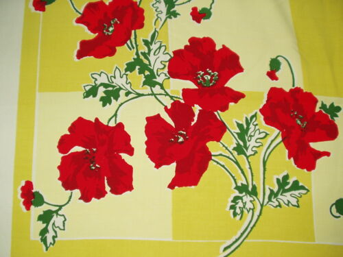 Vintage MCM Mid Century Modern RED POPPIES on YELLOW TABLECLOTH