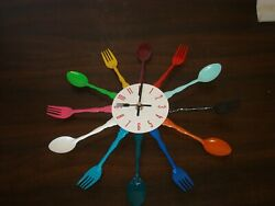 Vintage Multi Color Spoon and Fork Kitchen Wall clock