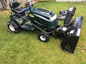 Riding mower with snowblower attachment