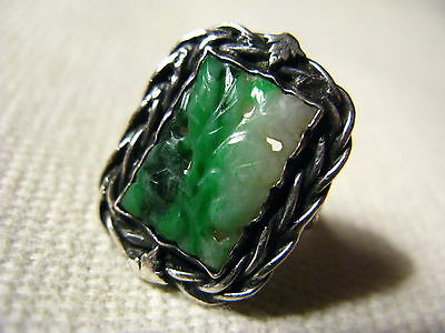 Vintage Antique Chinese Carved Jade Ring Sterling Silver