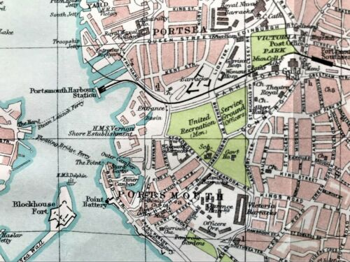 Antique Color Map : PORTSMOUTH, ENGLAND : 100% AUTHENTIC Rare ORIGINAL 1930