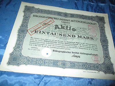 histor. AKTIE , Bibliographisches Institut AG LEIPZIG  1915 // 1000 Mark ,Nr.090