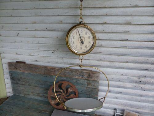 antique brass hanging trade store scale working enterprise type 33 w/ enamel pan