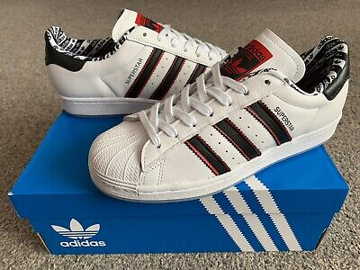 ADIDAS Superstar Mens Trainers, White/Black/Red - Size 10.5