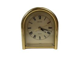 Vintage SEIKO Gold Tone 4.5 Quartz Shelf Mantle Desk Alarm CLOCK  - Works!