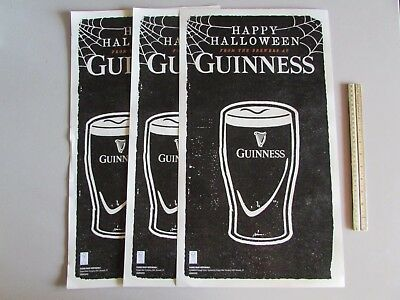 NEW (3) Guinness Happy Halloween Double Sided Pint Glass Poster Beer Man Cave  - Guinness Halloween