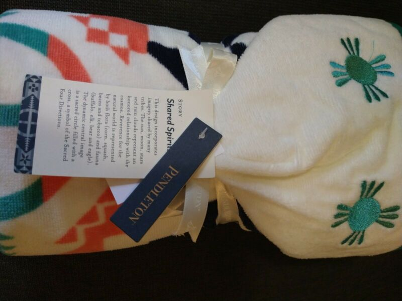 Pendleton Printed Hooded Baby Towel Shared Spirits Ivory