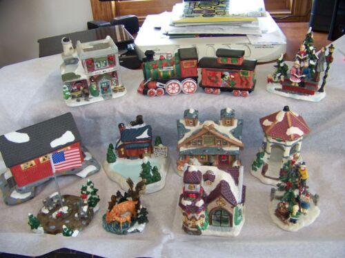 LOT OF 12 COBBLESTONE CORNER VILLAGE HOUSE FIGURINES POND COVERED BRIDGE 2001-04