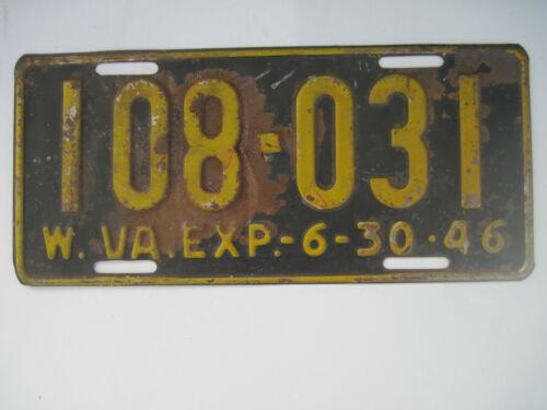 Vintage 1946 West Virginia License Plate # 108-031