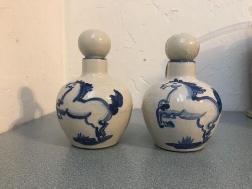 Vintage M.A. Hadley Pottery Oil and Vinegar Cruet Set w/Blue Horse Motif.