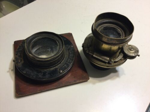 1890's - 1900's Lot x 2 Brass Camera Lens Bausch & Lomb Unicom - Wollensak Regno