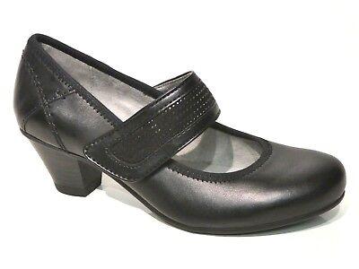 Jana Schuhe Pumps High Heels Mary Jane bequem schwarz modisch Leder  Heel Mary Jane Pump Schuhe