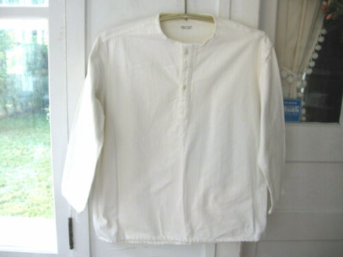 VINTAGE IVORY 100% COTTON FLANNEL LINED COLLARLESS UNISEX SHIRT - RUSSIA