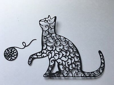 5 X lace cats and ball of wool Die Cuts