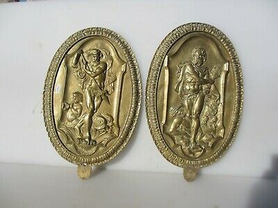 Antique Brass Plaque Mount Plate Georgian Victorian Old Classical Greek Gods Koi