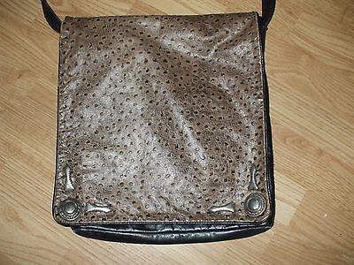 Black leather & faux Ostrich Shoulder bag w front flap & heavy silvertone - Accented Front Flap