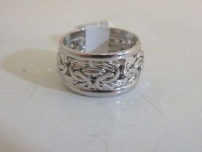 14K WHITE GOLD BYZANTINE INLAY BAND RING NEW SIZE (14k Gold Inlay Rings Bands)