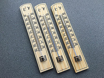 3x Thermometer 20cm Holz Zimmerthermometer Außenthermometer Holzthermometer 5