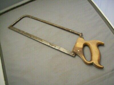 Antique Butchers Meat And Bone Saw--13 34 Blade--steel Rod Backbone
