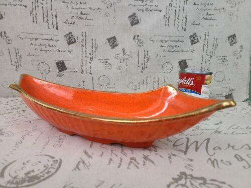 Vintage Orange w/ Gold Spatter Console BOWL Dish Mid-Century Modern MCM Fruit