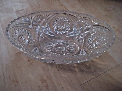 Clear Pressed Glass Bowl (Vintage Clear Pressed Glass Oval Sawtooth Bowl Hobstar)