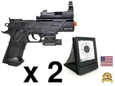 - Two Pack Airsoft Colt MK IV 2 Spring Pistols Hand Gun Target Red Laser Cheap Kid