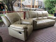 Leather 3 Seater Sofa & Recliner Box Hill North Whitehorse Area Preview