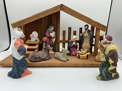 Holiday Time 12 piece Nativity Set hand painted porcelain wooden stable