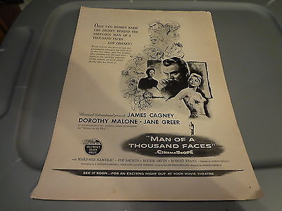 1957 Man of a Thousand Faces Movie Vintage Magazine Ad with James Cagney