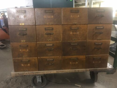Library Bureau Sole Makers File Card Catalog 16 Drawers  Antique