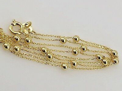 "Sweet Solid 14k Yellow Gold Bead Station Chain, 16"" New"