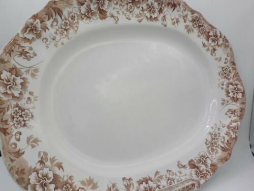 XL Antique Brown Transferware JHW & Sons Platter Tray Pansy Exc!