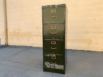 1940s Large File Cabinet With Brass Hardware By Steel Furniture Mfg. Co.